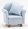 CLA10950 - Chair with Pillow, Blue/White Stripe