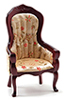 CLA10965 - Victorian Gent's Chair, Mahogany W/Floral Fabric