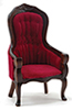 CLA10968 - Victorian Gent's Chair, Walnut W/Red Velour Fabric