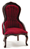 CLA10969 - Victorian Lady's Chair, Walnut W/Red Velour Fabric