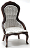 CLA10972 - Victorian Lady's Chair, Walnut, White Brocade Fabric