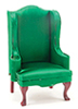 Chair, Mahogany with Emerald Green Fabric