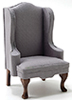 CLA10990 - Chair, Walnut with Gray Fabric