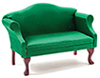 Sofa, Mahogany with Emerald Green Fabric
