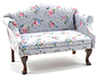 CLA10996 - Sofa, Walnut with Gray Floral Fabric