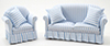 Sofa and Chair Set, Blue & White Stripe