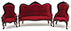 Victorian Sofa and Chair Set, 3Pc, Walnut,  Red Velour Fabric