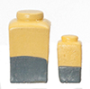Resin Yellowith Gray Jars, 2Pc Set