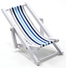 Beach Chair, Blue/White Fabric