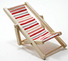 IM65339 - Beach Chair, Red/White/Pink Fabric, Natural Wood