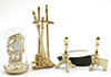 IM66235 - Brass Fireplace Accessories with Clock, 8pc