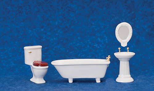 AZD6405 - Art Deco Bath Set, 4/Pc, Wht/Cs