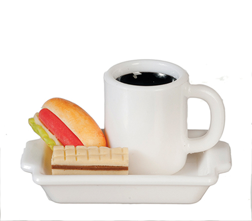 Hot Dog & Coffee & Wafer on Plate