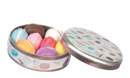 Round Tin Box W/Macarons