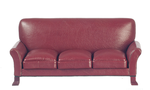 AZP3094 - Leather Sofa, Red, Mahogany