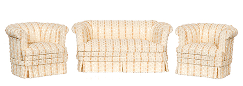 AZP6317 - Discontinued: Living Room Set, Tan Stripe, 2pc