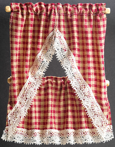 BB51606 - Kitchen Curtains: Country Red Check