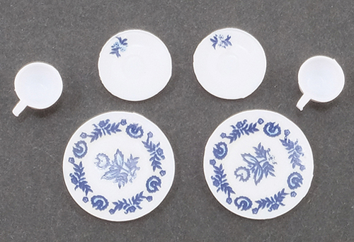 CB099B - Decorated Dishes, Blue, 6/Pc