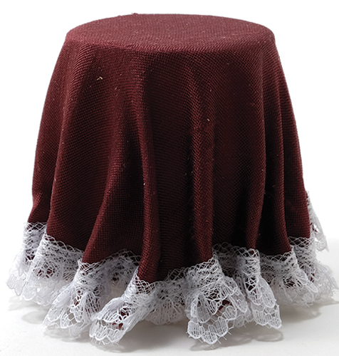 Skirted Table: Burgundy with White Lace Trim