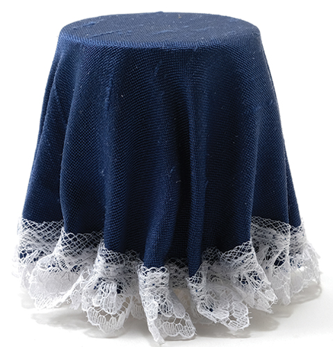 CB173N - Skirted Table: Navy Blue with Lace Trim