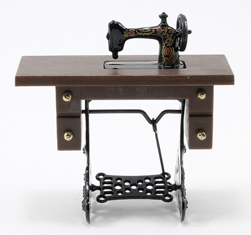 Sewing Machine on Walnut Stand, Resin and Metal