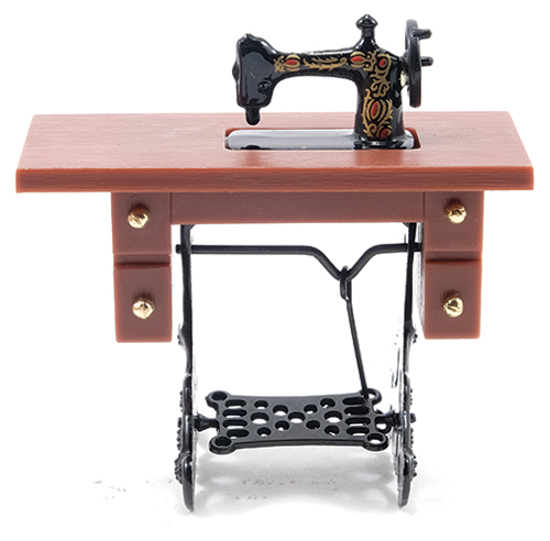 Sewing Machine on Light Brown Stand, Resin/Metal