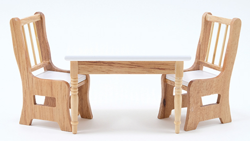 CLA10215 - Table W/2 Chairs, Oak/Wht