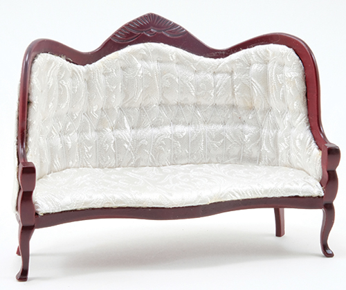 Vicorian Sofa, Mahogany,  White Brocade