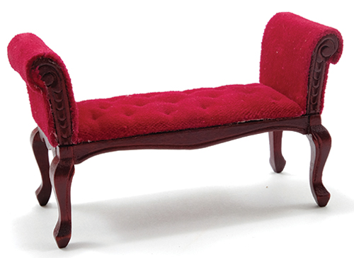 CLA10841 - Settee, Mahogany W/Red Velour Fabric