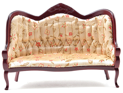Victorian Sofa, Mahogany with Floral Fabric