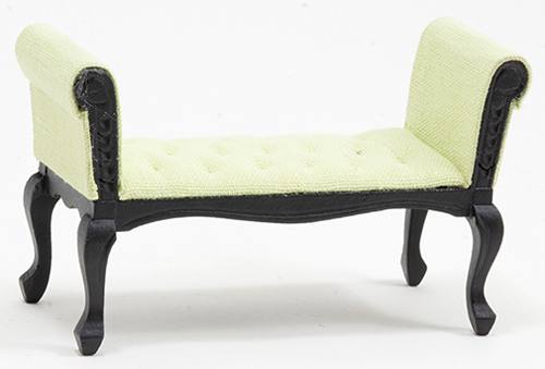 CLA12007 - Settee, Black With Green Fabric