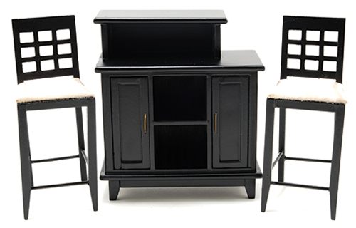 Black Bar with 2 Chairs
