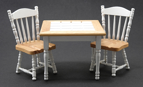 Oak/White Table with 2 Chairs