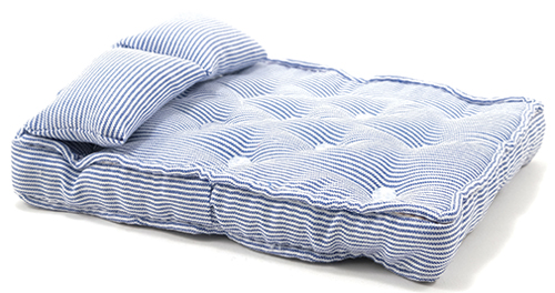 CLA99500 - Double Mattress with Pillows, Blue/White