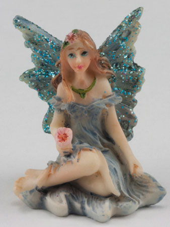 Small Fairy w/ Legs to Side, Blue Dress