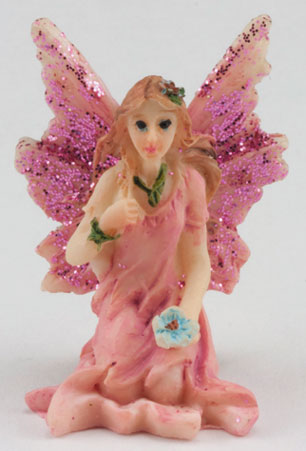 DDL1231 - Small Fairy Sitting, Pink Dress
