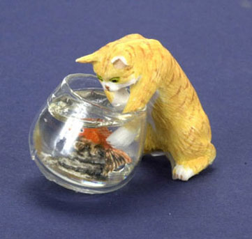 FCA1428OR - Cat W/Fish Bowl, Orange