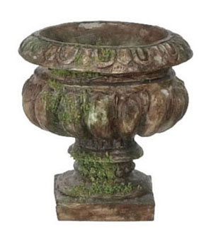 FCA1444B - Round Urn without Handles, 3Pc Brown with Moss