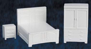 Bedroom Set, White, 3pc, 1/4 Inch Scale