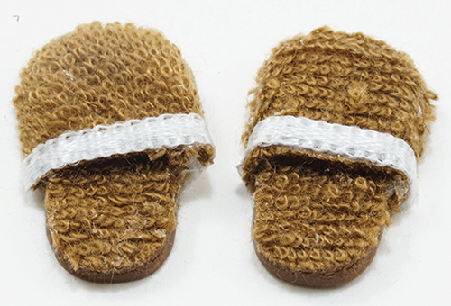 Men's Slippers, Brown with White