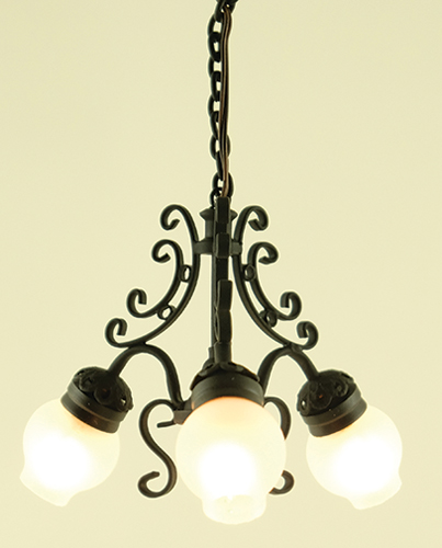MH1013 - Chandelier, 3-Lt Frosted Globe