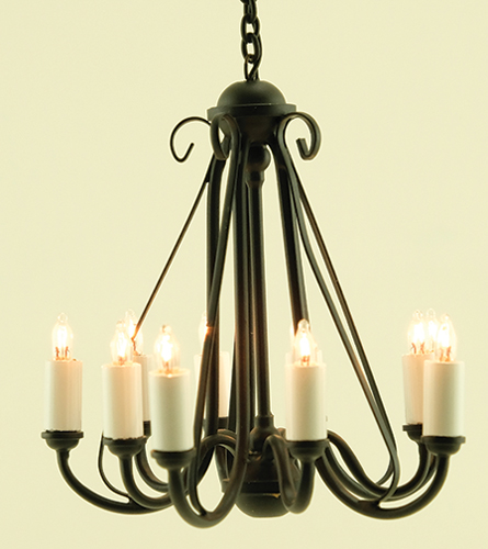 MH1050 - Wrought Iron Chandelier, Black