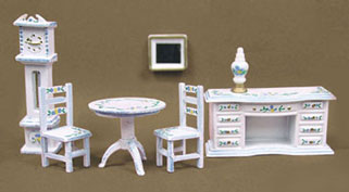 MUL5407B - 1/4In Parlor Set, Hand Painted, White/Blue