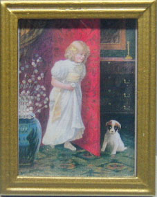 NCRA0203 - Girl/Dog, Gold Frame 1 3/4 X 2 1/4