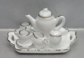 NCRBD16 - 10 Pc Wh/Silver Trim Tea St-Sqr